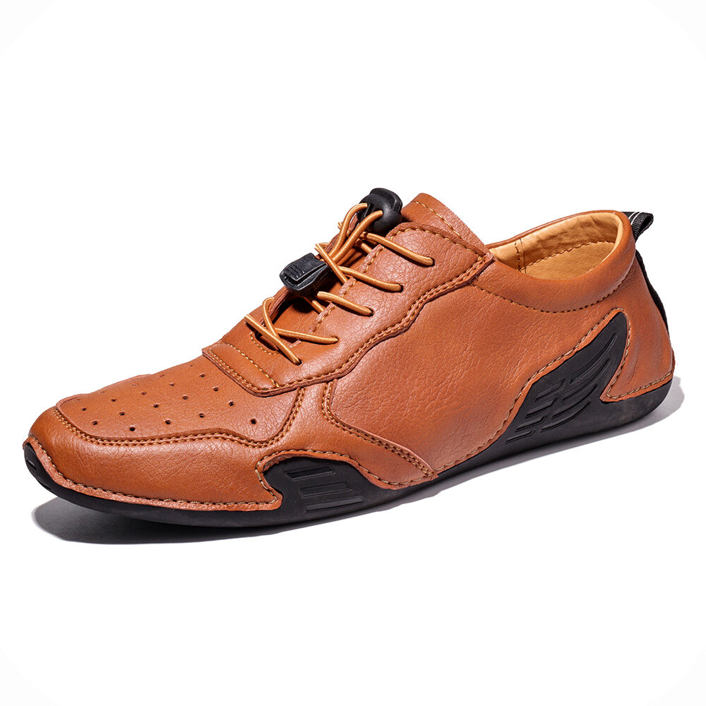 Men Hole Breathable Soft Driving Leather Loafers