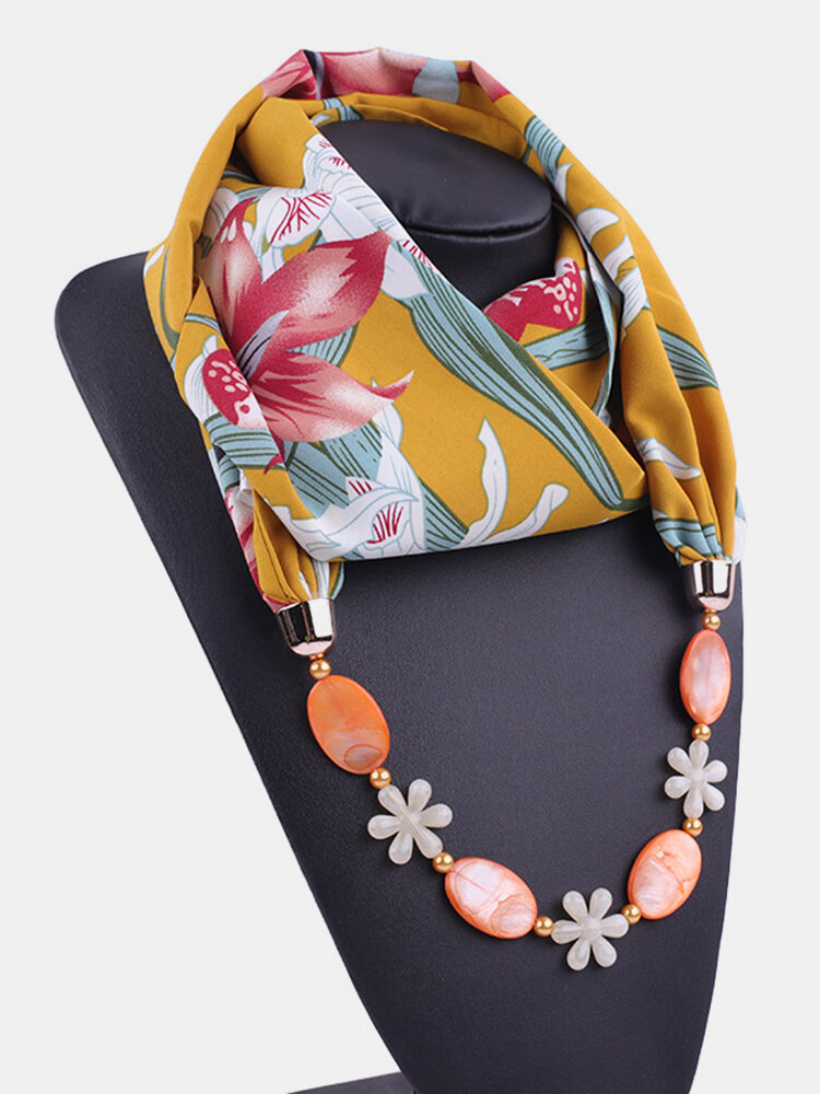 Vintage Chiffon Women Scarf Necklace Shell Flower Pendant Stripes Printed Shawl Necklace Clothing Accessories