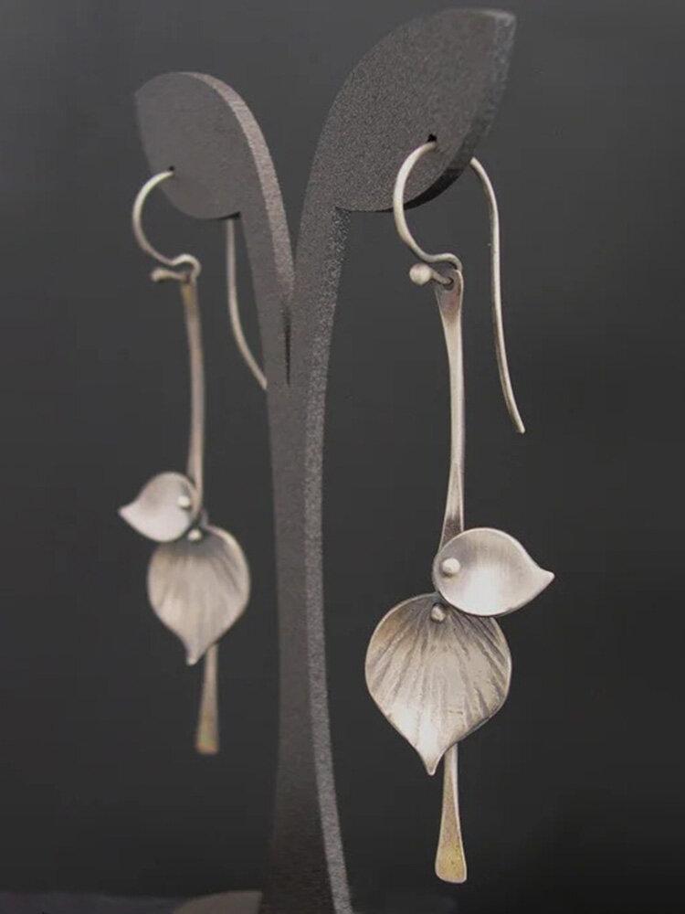 Vintage 925 Silver Plated Women Earrings Simple Symmetry Tree Leaf Pendant Earrings