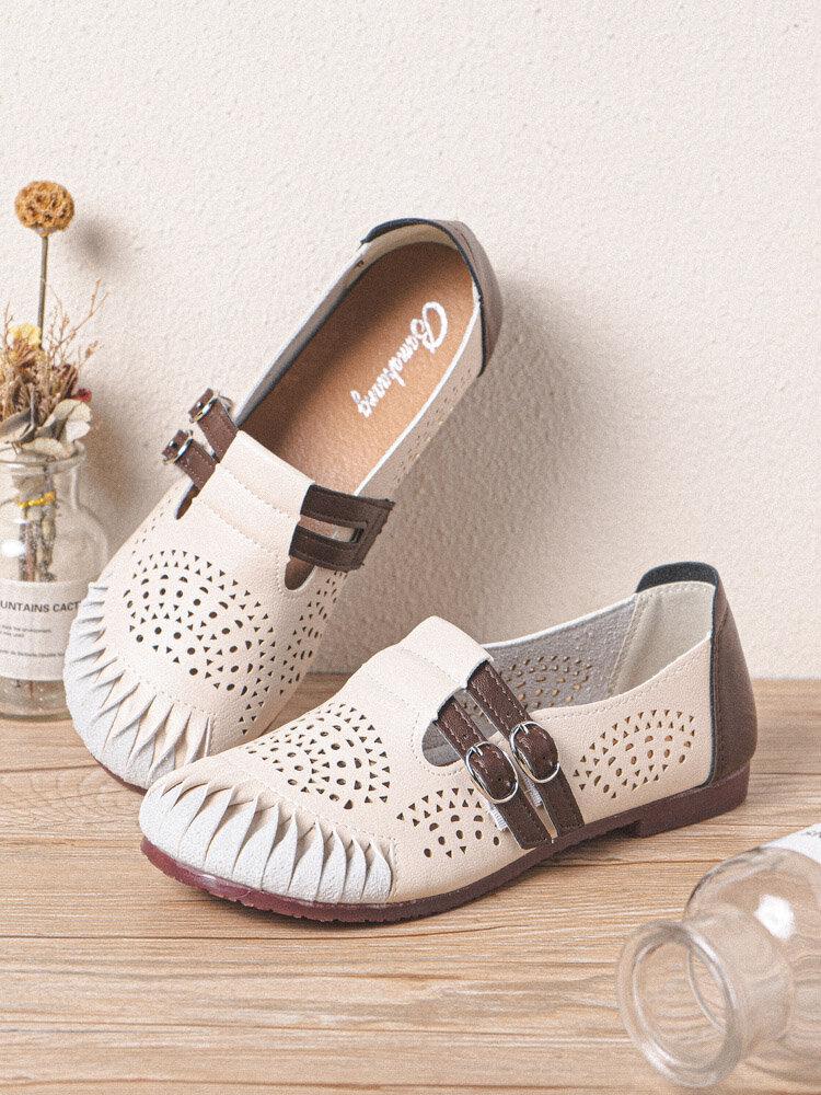 Женские дышащие туфли на плоской подошве с плиссированной пряжкой и полой пряжкой