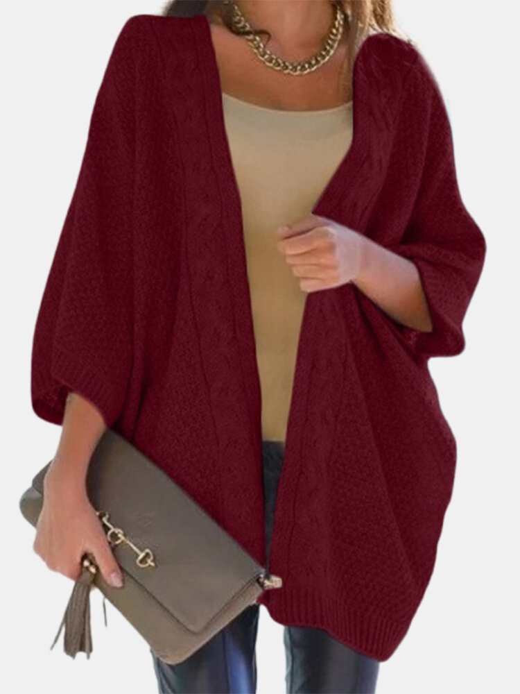 Solid Color Dolman Sleeve Loose Casual Cardigan For Women