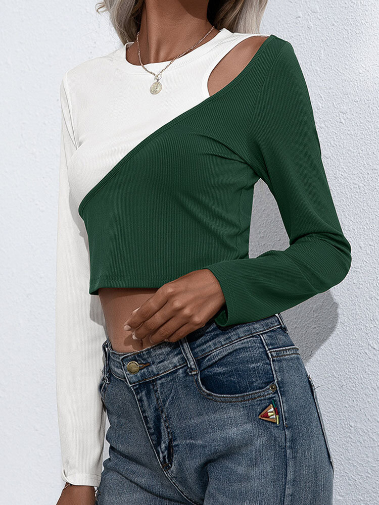 Contrast Color Hollow Long Sleeve O-neck Skinny T-shirt