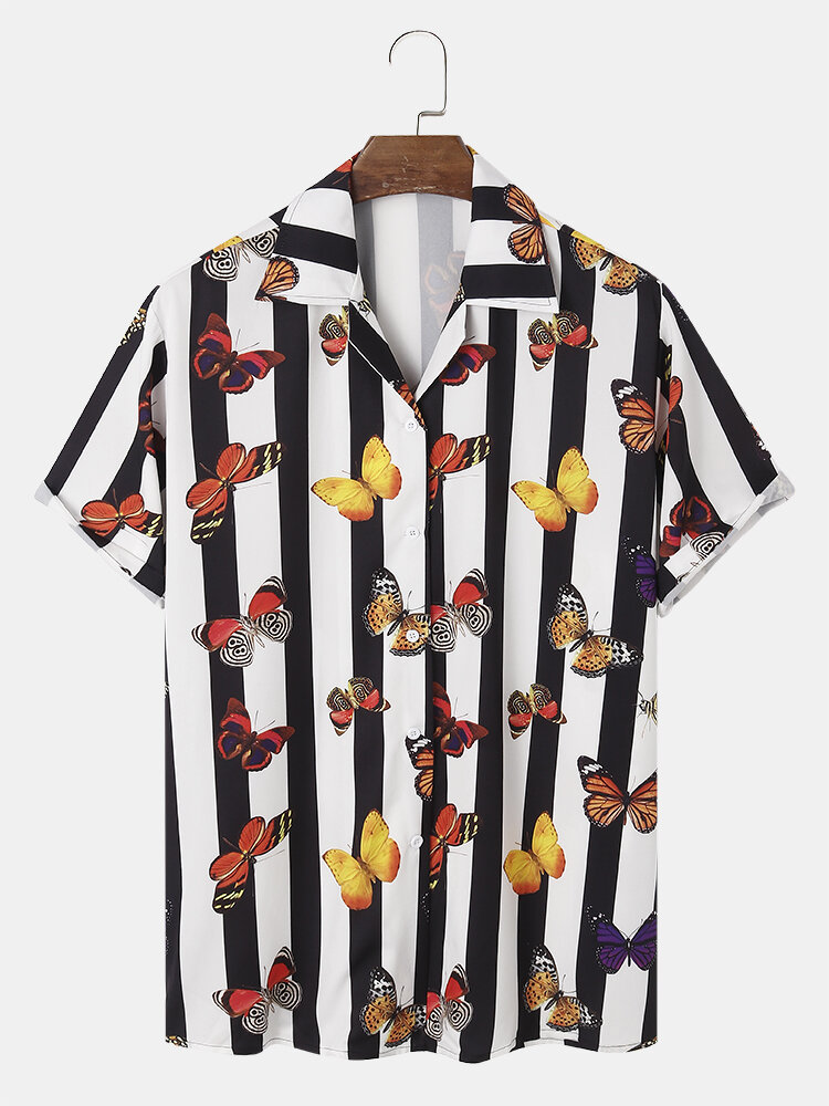 Mens Butterfly & Stripe Printed Revere Collar Holiday Short Sleeve Shirts
