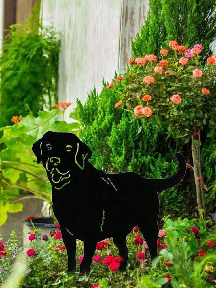 1 PC Loyalty Dog Silhouette Stakes Metal Animal Shaped Ornaments Waiting For Home Outdoor Yard Lawn Art Decoration