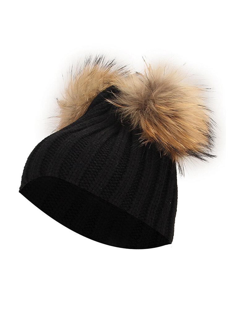 Women Winter Fur Hat Double Pom Beanie Hat Knit Beanie Bobble Ski Cap