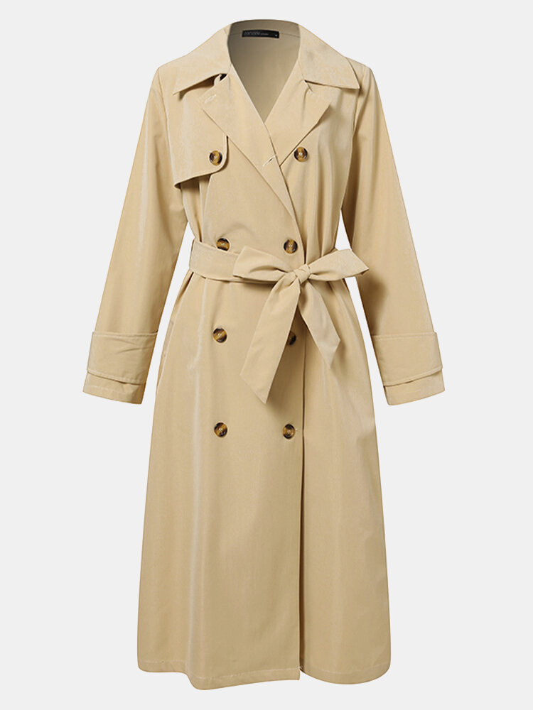Solid Color Pocket Button Loose Casual Coat For Women
