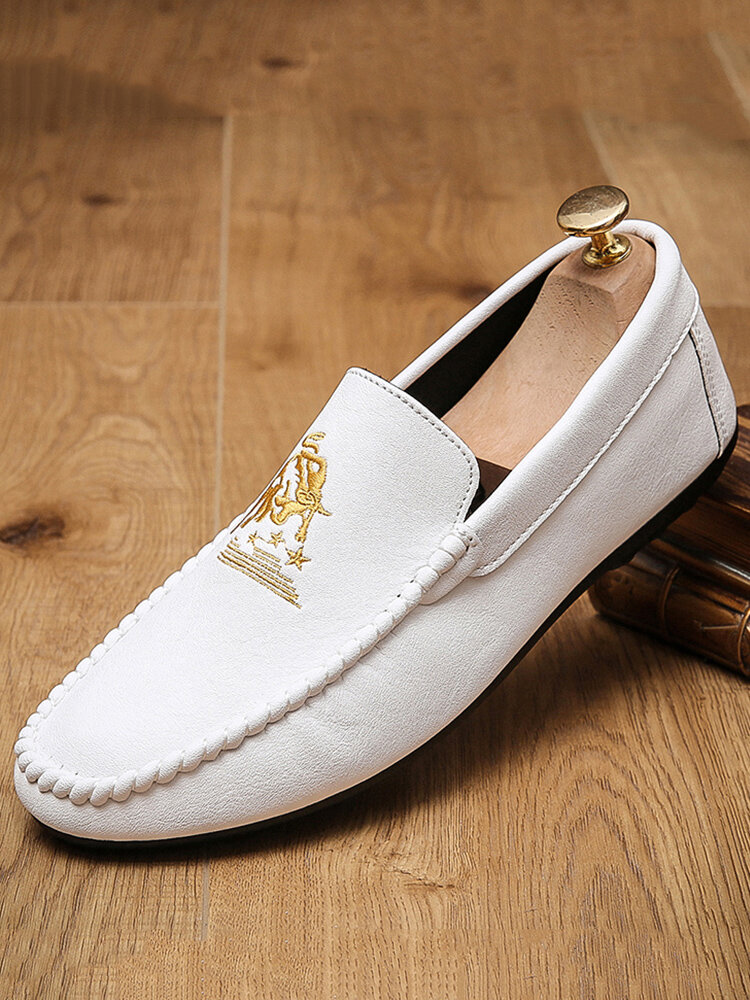Men Hand Stitching Microfiber Leather Slip On Casual Driving Shoes