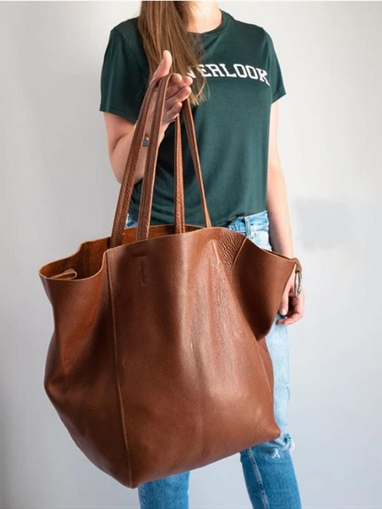 Frauen Vintage Öl Wachs Leder Große Kapazität 2 PCS Einkaufstasche
