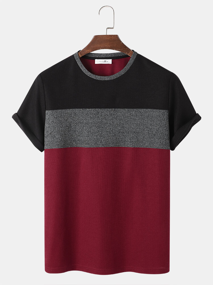 Mens Color Block Patchwork Crew Neck Knitted Preppy Short Sleeve T-Shirts