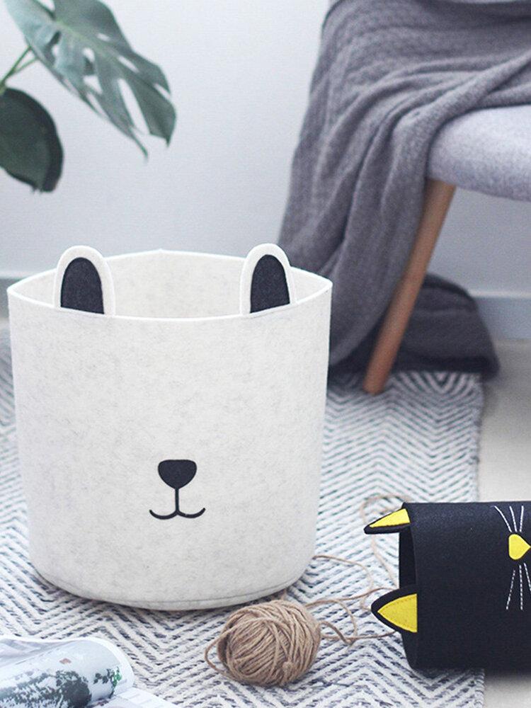 Cartoon Dog Felt Storage Bucket Storage Basket Toy Dirty Clothes Storage Bag Barrel