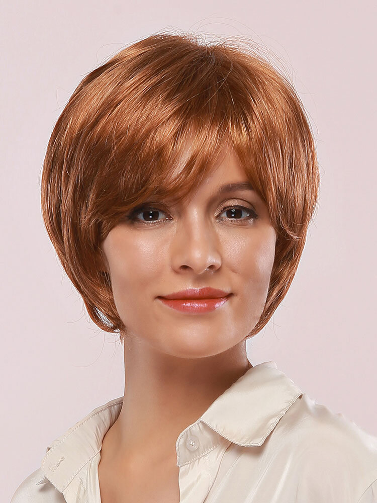 10 Inch Citrus Brown Human Hair Wigs Natural Texture Inclined Bangs Fluffy Breathable Short Hair
