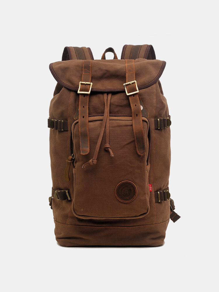 Men Genuine Leather And Canvas Retro Travel Outdoor Large Capacity Backpack