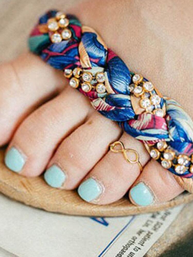 خمر الجوف لانهائية رمز خواتم اصبع القدم هندسية معدنية مفتوحة للتعديل خواتم القدم