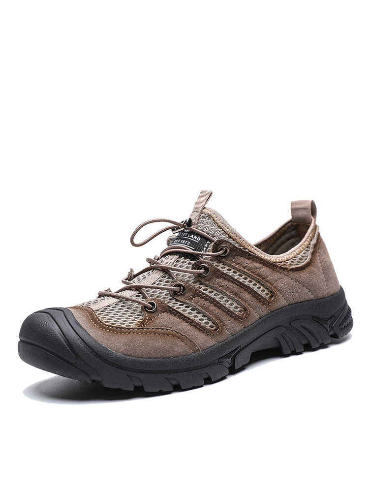 Men Soft Breathable Mesh Fabric Lace-up Hard Wearing Casual Outdoor Shoes