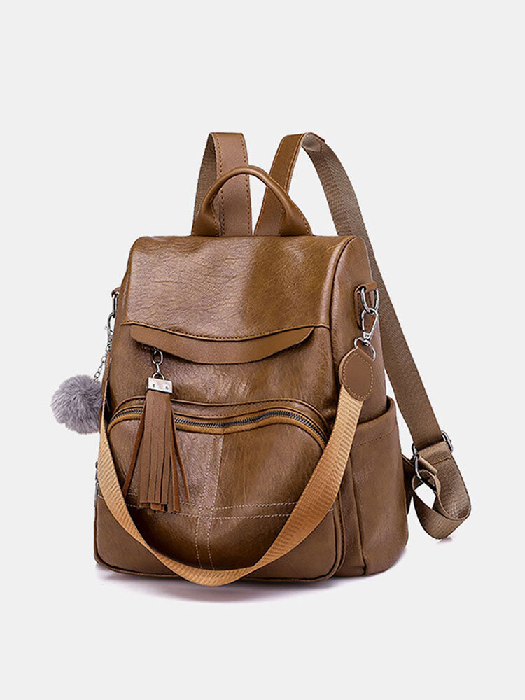 Women Solid Large Capacity Anti theft Casual Shoulder Bag Backpack
