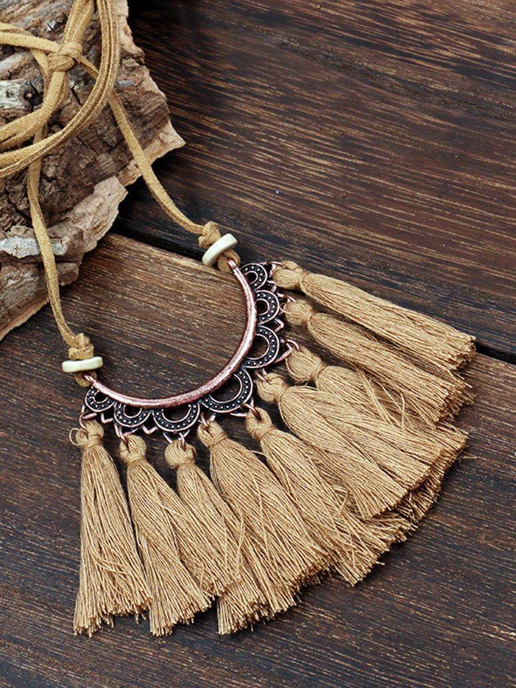 Bohemian Cotton Thread Tassel Long Necklace
