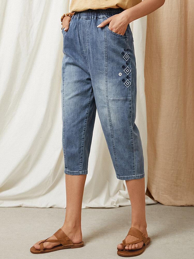 Cintura elástica de mezclilla lavada con parche de bordado geométrico Jeans