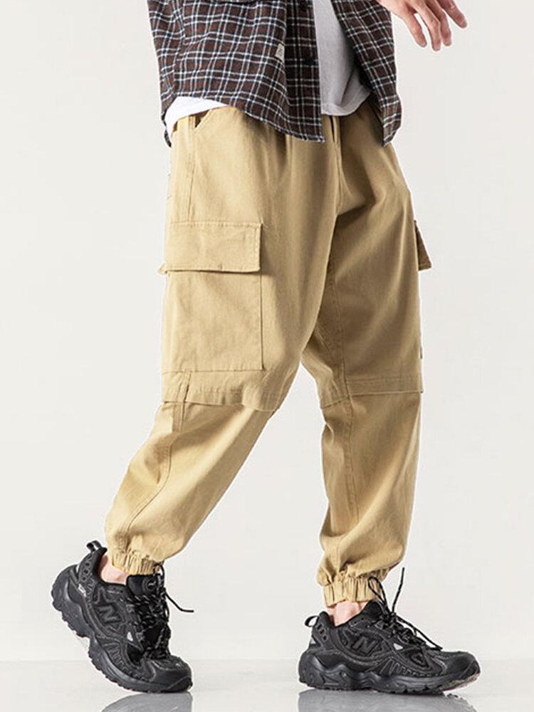 Mens 100% Cotton Multi-Pocket Solid Elastic Waist Zipper Fly Casual Overalls