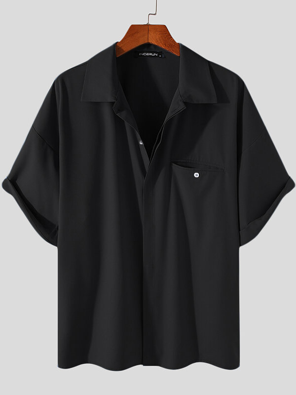 Plus Size Mens Solid Concealed Placket Lapel Casual Short Sleeve Shirts