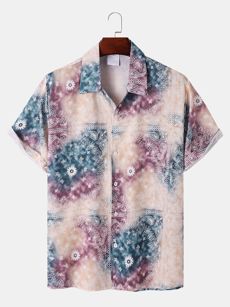 Mens Ombre Paisley Print Ethnic Style Loose Short Sleeve Shirts