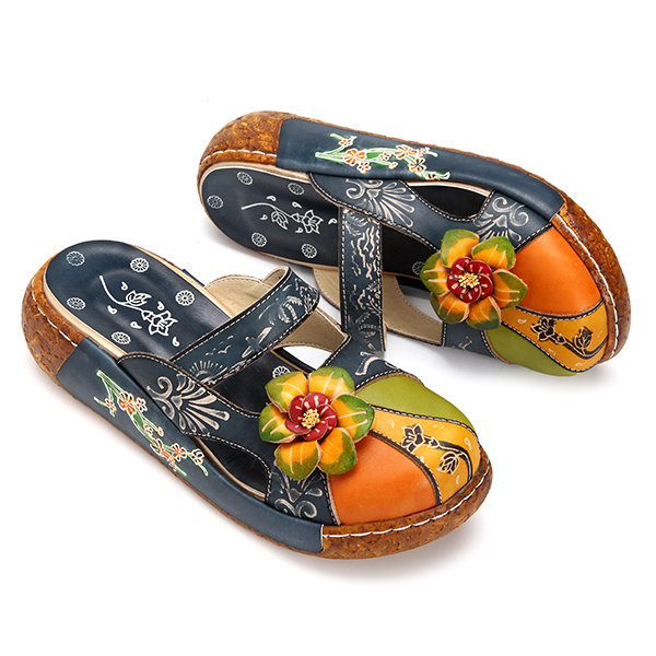 the latest 406ea 3888a Hot-sale Socofy SOCOFY Vintage Colorful Leather Hollow Out Backless Flower  Shoes - NewChic