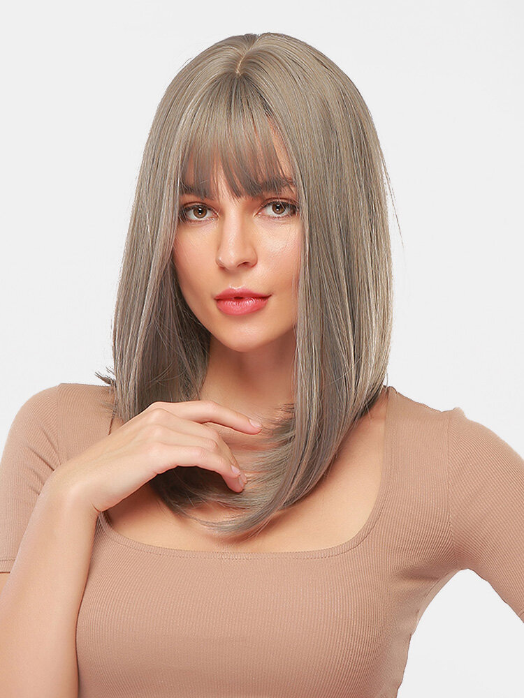 18 Inch Gray Mixed Color Medium-Length Straight Hair Soft Natural Full Head Cover Wig
