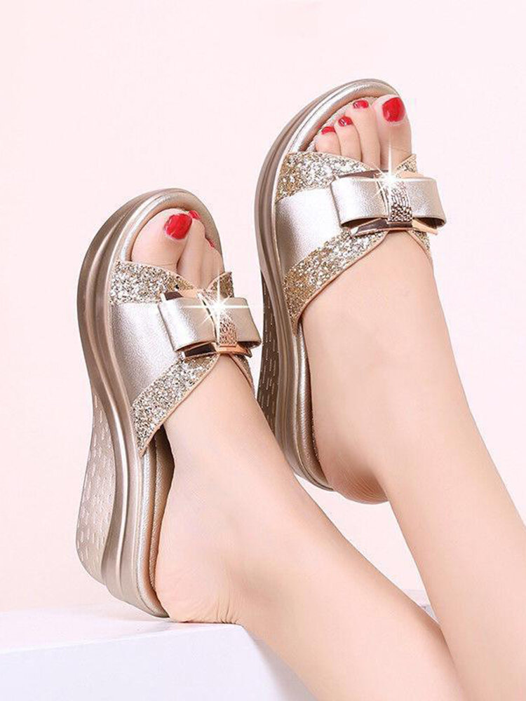 Women Casual Bow Peep Toe Wedges Slippers