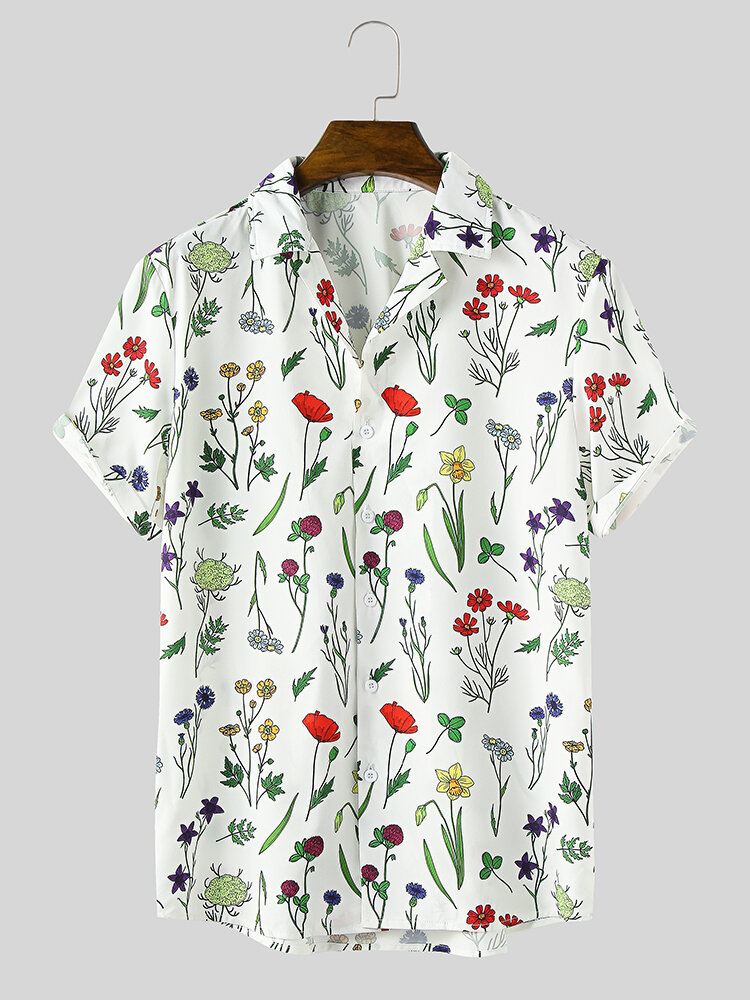 Mens All Over Colorful Plant Print Lapel Holiday Short Sleeve Shirts