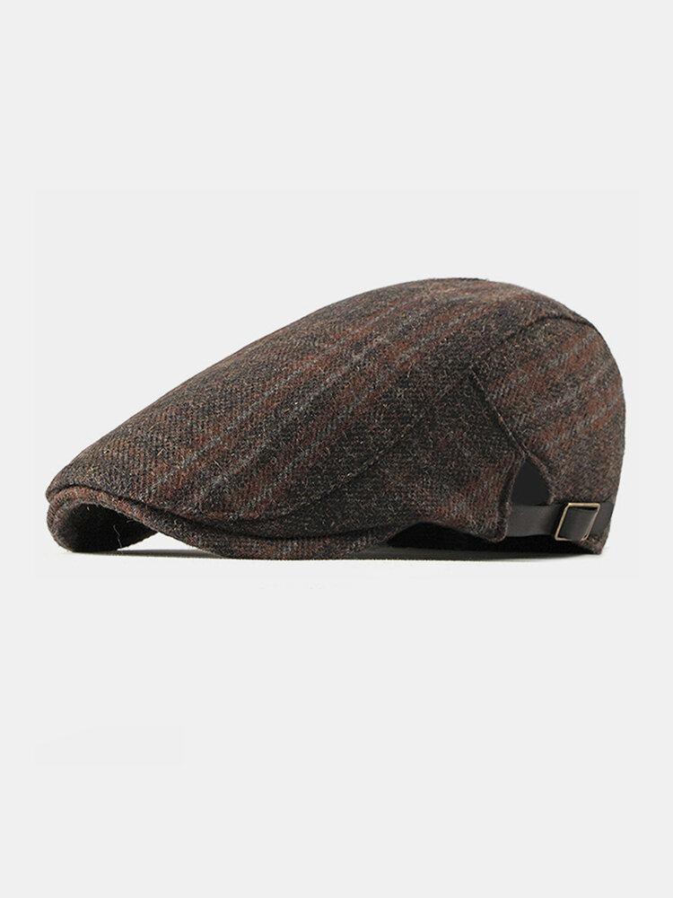 Men Autumn And Winter Duck Tongue Hat British Retro Woolen Forward Hat Flat Cap