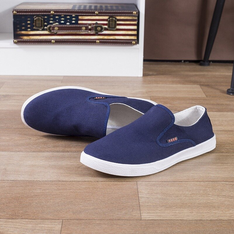 Men Canvas Pure Color Low Top Comfy Slip On Casual Loafers