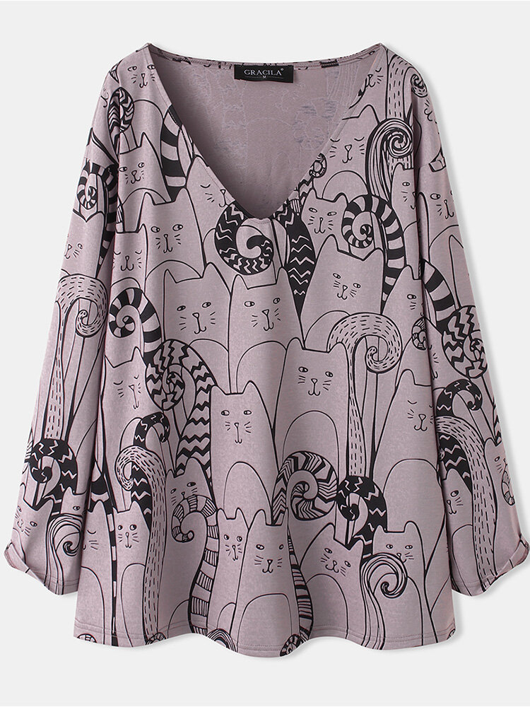 Cat Cartoon Print V-neck Long Sleeve Plus Size Blouse for Women