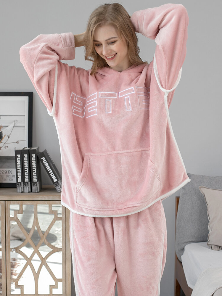 Women Flannel Letter Embroidery Patchwork Thicken Hoodie Warm Home Pajama Set