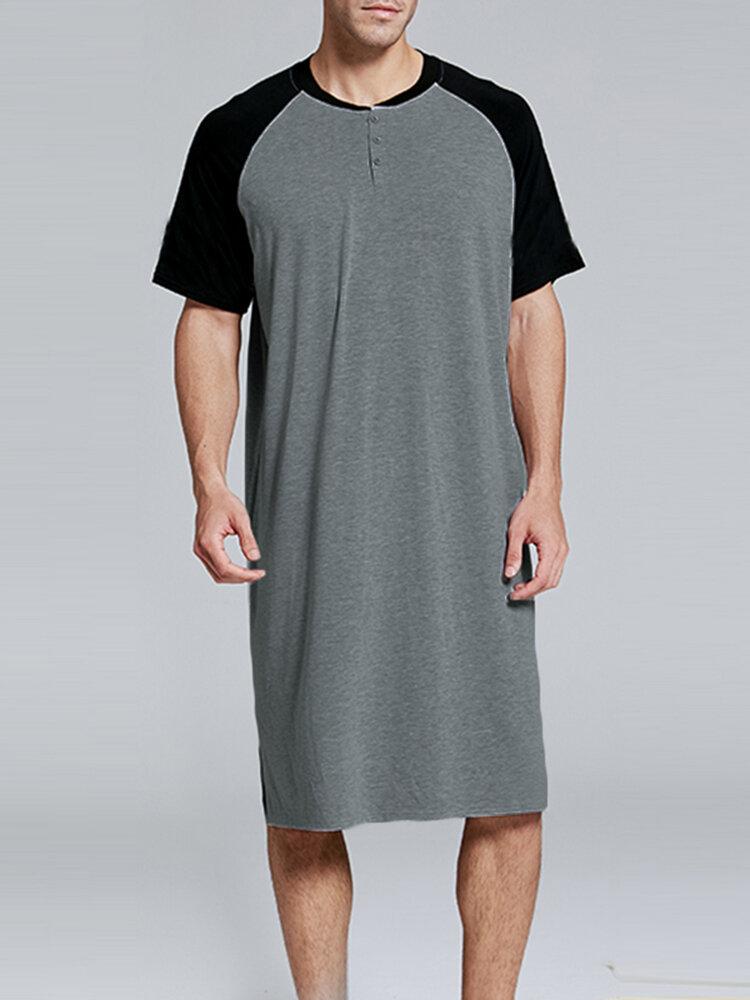 Patchwork Cozy Length Top Design Robes Breathable O Neck Short Sleeve Sleepwear for Men