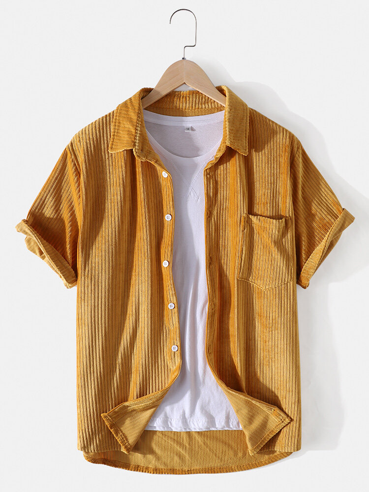 Mens Brief Style Solid Color Corduroy Casual Short Sleeve Shirt