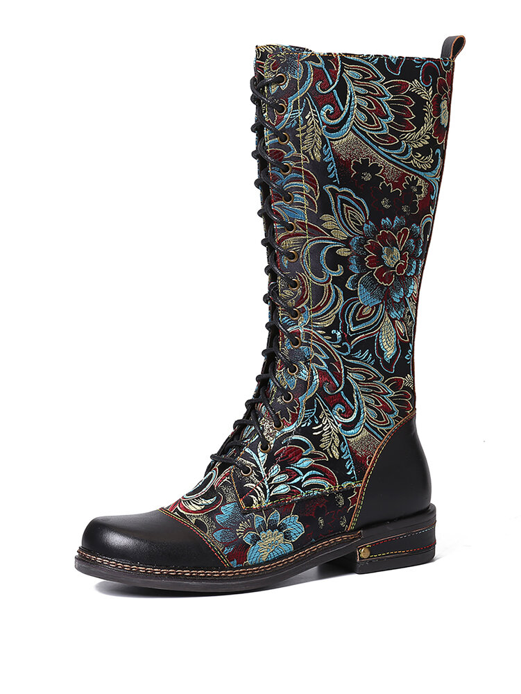 SOCOFY Gorgeous Flowers Pattern Colorful Stitching Elegant Zipper Lace Up Flat Mid Calf Boots