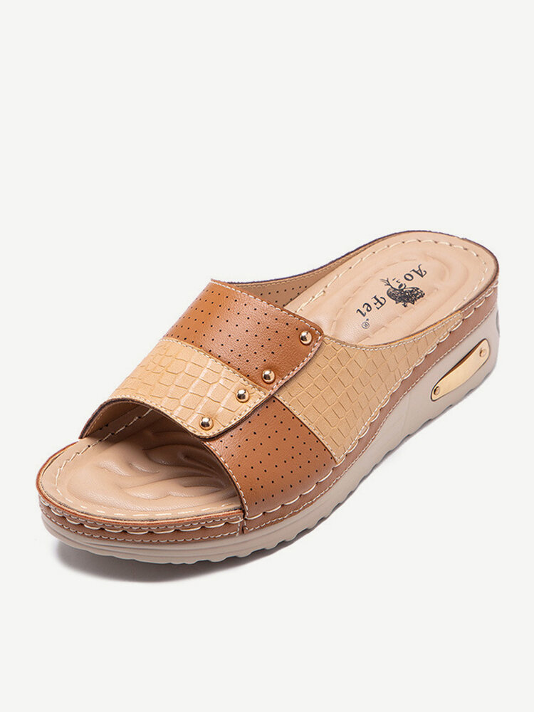 Women Brief Casual Color Block Stitching Snake Veins Opened Flat Stripe Slippers
