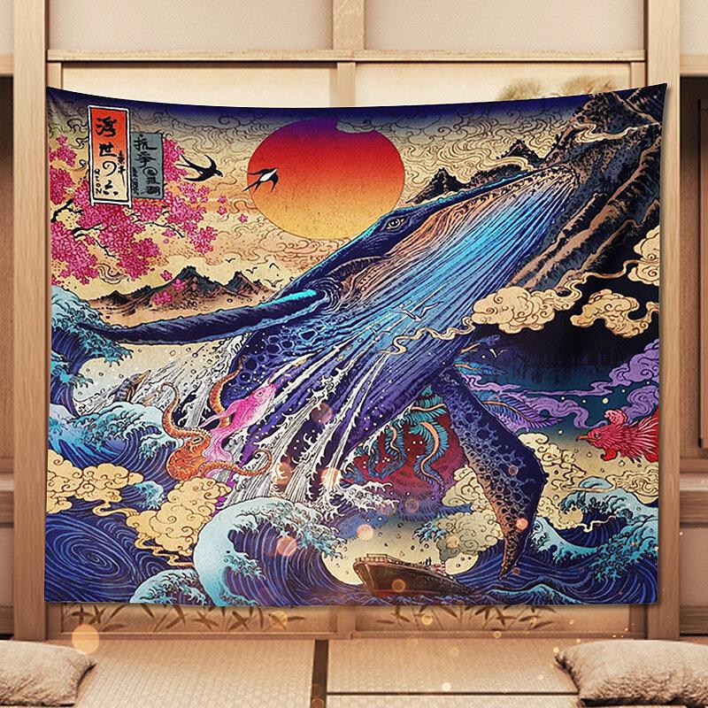 <US Instock>3D العظمى اليابانية البحر المحيط موجة الحوت الغروب متجر المنزل نسيج ديكور المنزل
