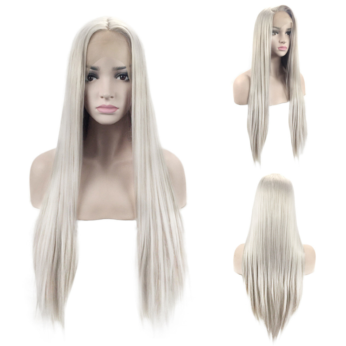 Lace Part Handmade Silver Grey Heat Resistant Hair Perruque Party Synthetic Lace Front Wig