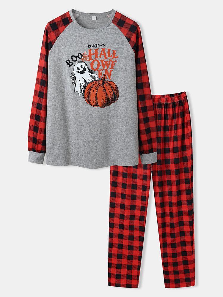 Mens Halloween Pumpkin Print Plaid Patchwork Raglan Sleeve Pajamas Sets