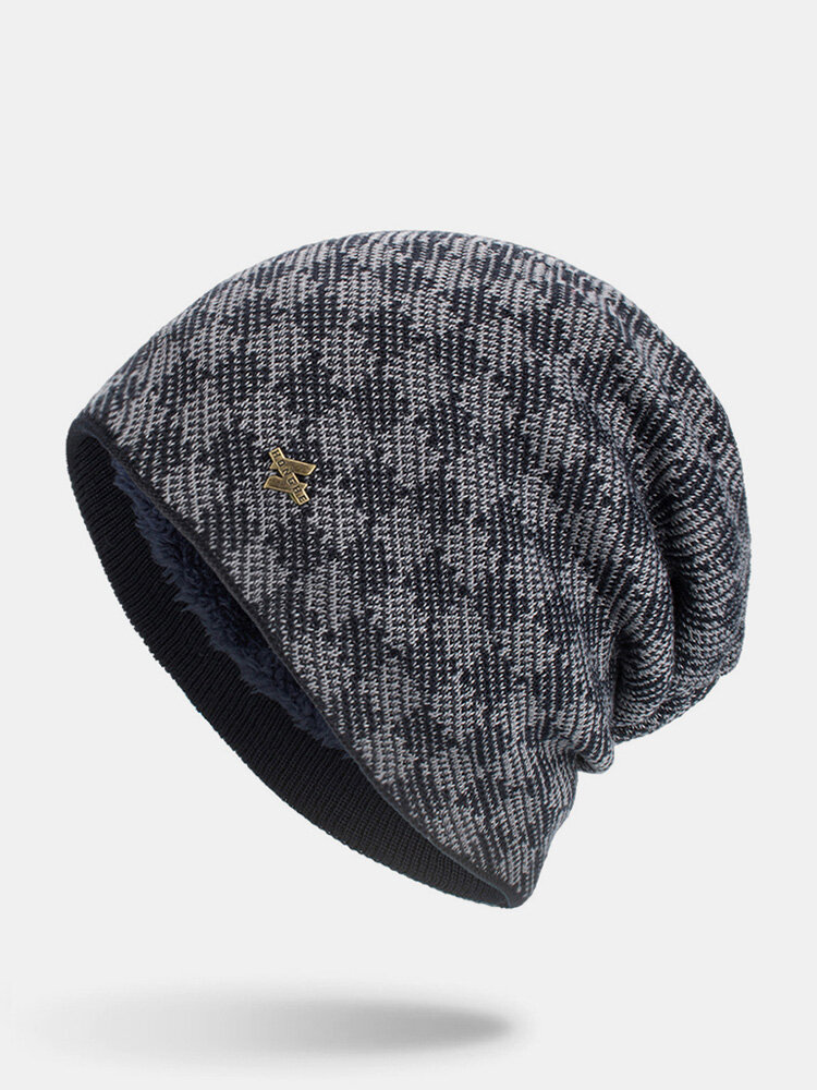 男性冬Plusベルベットコントラストチェック柄パターン屋外ニット暖かいビーニー帽子
