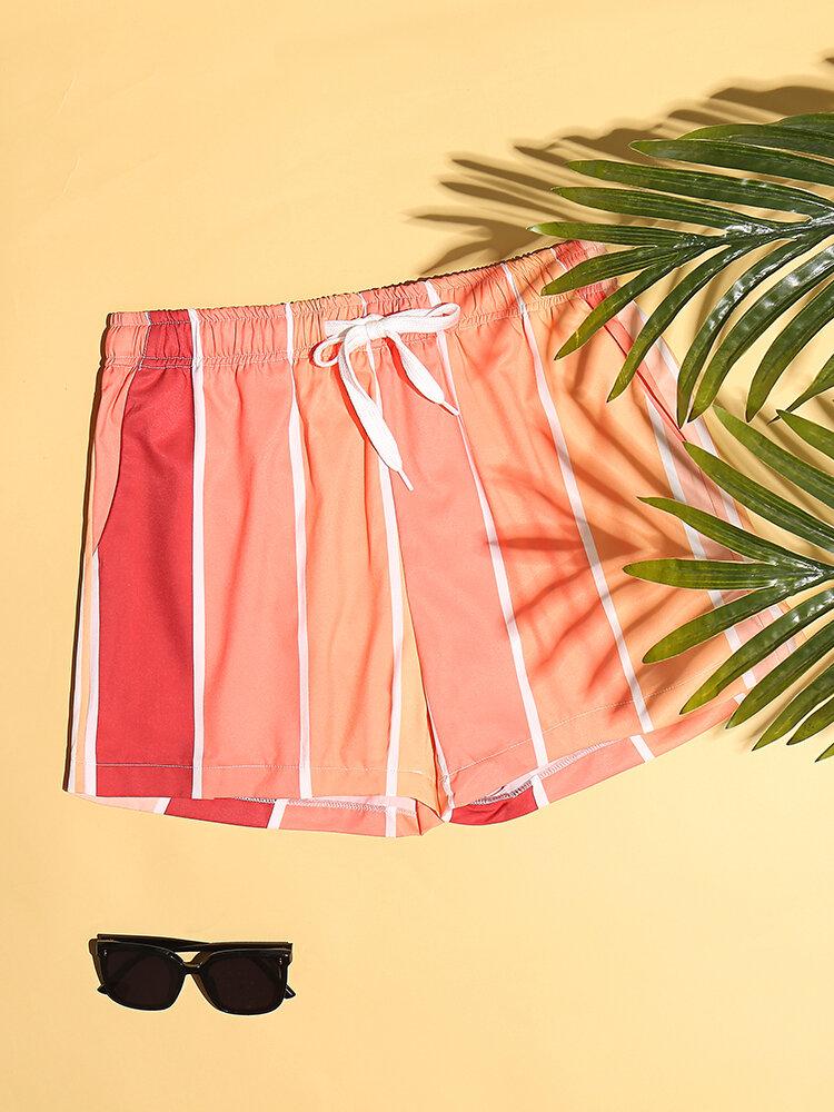 Lightweight Orange Vertical Striped Shorts Mesh Lining Quick Dry Swim Trunks For Men