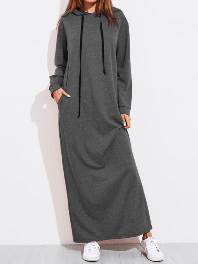 Solid Color Long Sleeves Casual Hooded Maxi Dress