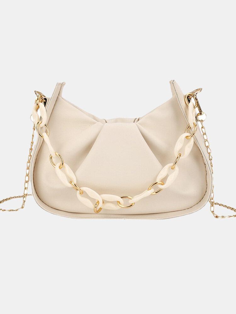 Casual Thick Chain Faux Fur Pleated Design Underarm Bag Simple Multi-Carry Dumpling Bag