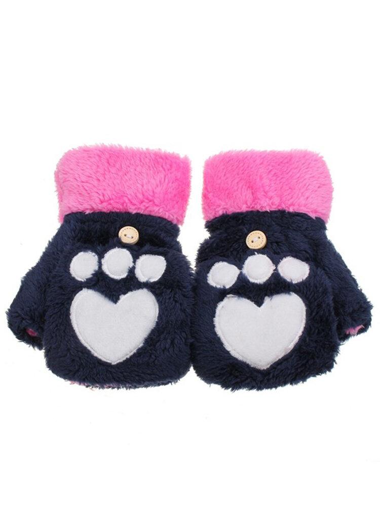 Winter Warm Cute Cat Claw Plush Short Fingerless Gloves Half Finger Flip Mittens
