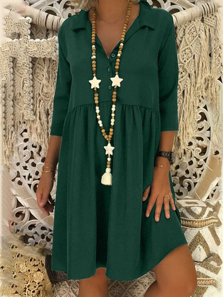 Solid Color 3/4 Sleeve Lapel Casual Dress For Women