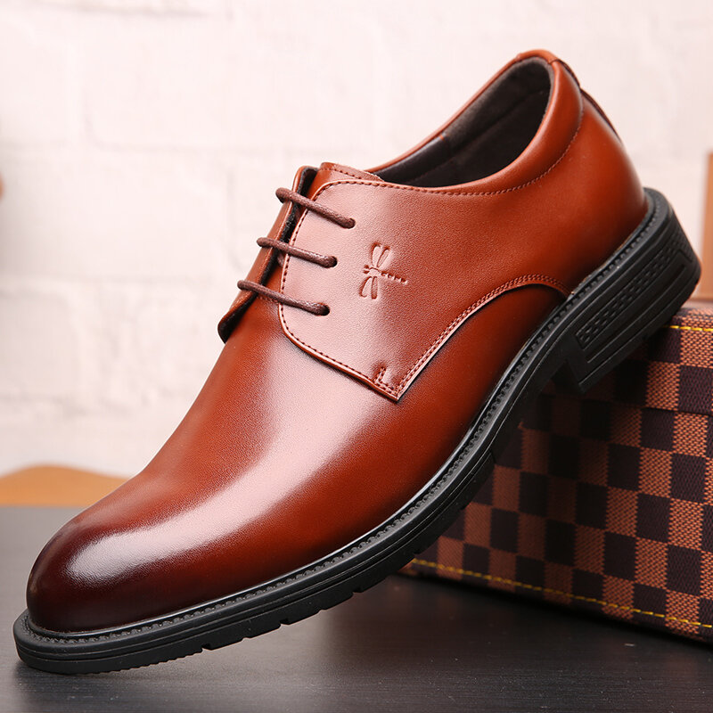Men Microfiber Leather Slip Resistant Business Casual Formal Shoes