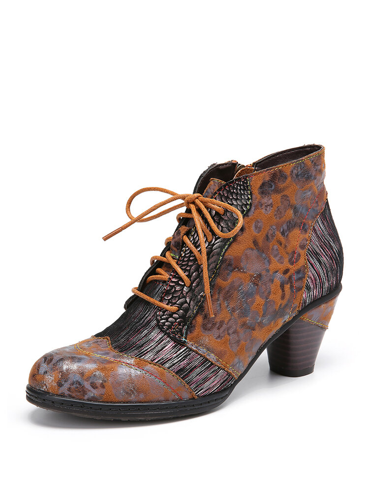 SOCOFY Side Snake Printed Comfy Cowhide Leather Splicing Zipper Lace Up Chunky Heel Ankle Boots