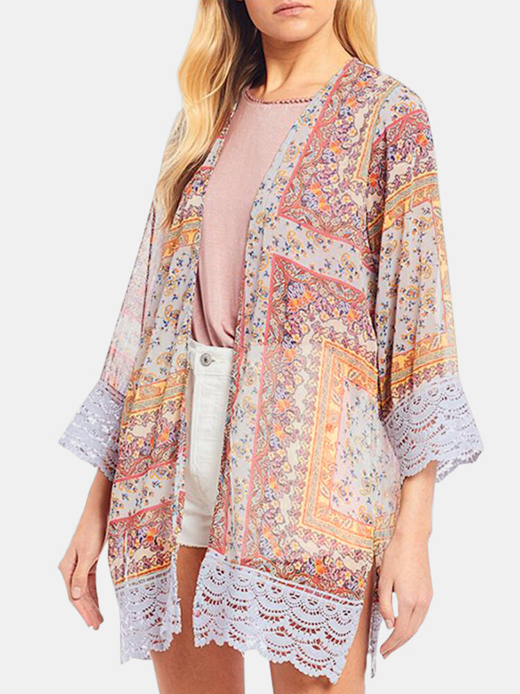 Ethnic Printed Lace Edging Long Sleeve Chiffon Kimono
