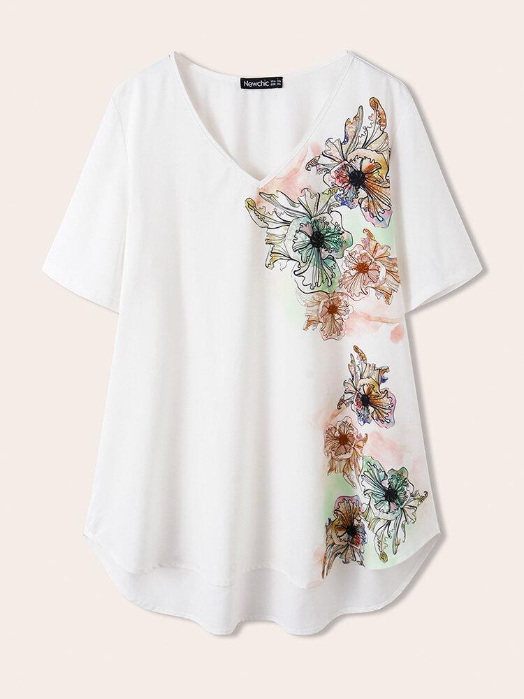 Slip Imprimé Fleurs Col V Plus Taille T-shirt Casual
