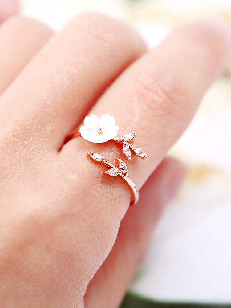 Trendy Delicate Zirconia Crystal Leaf Shell Flower Rings for Women Girl Rose Gold Open-end Rings